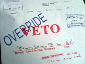 The House and Senate voted on June 15, 2011, to override Gov. Beverly Perdue's veto of the $19.7 billion 2011-12 state budget.