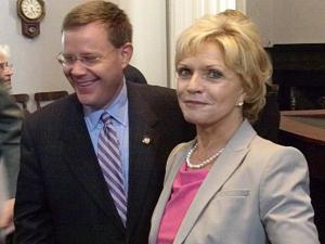 Gov. Bev Perdue and Rep. Tim Moore, R-Cleveland, celebrate the signing of Laura's Law.
