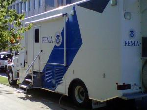 A FEMA truck parked outside NC Emergency Management HQ in downtown Raleigh.