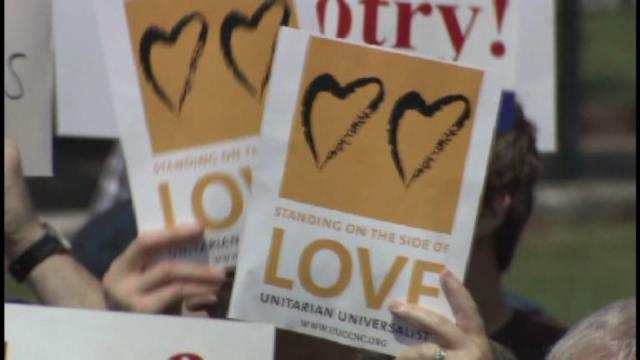 While state Senators argued inside, advocates of same-sex marriage and backers of a constitutional amendment to ban it rallied in Raleigh Tuesday.