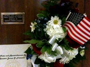 A legislative memorial outside Senator Jim Forrester's Raleigh office on Monday.