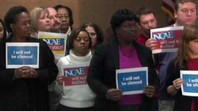 Members of the N.C. Association of Educators rally on Jan. 5, 2012, after Republican House members engineered a late-night vote targeting the teachers organization.