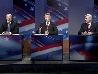 Orange County Rep. Bill Faison former Congressman Bob Etheridge and Lt. Gov. Walter Dalton, left to right, participate in a Democratic gubernatorial debate on April 16, 2012.
