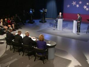Gubernatorial candidates Walter Dalton, left, and Pat McCrory debate on Oct. 16, 2012.