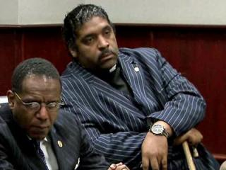 North Carolina NAACP President Rev. William Barber sits in a Wake County courtroom May 7, 2012, where he pleaded guilty to disorderly conduct for interrupting a meeting at the General Assembly in May 2011.