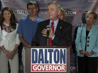 Lt. Gov. Walter Dalton addresses cheering supporters at a May 8, 2012, party in Raleigh to celebrate his Democratic nomination for governor.