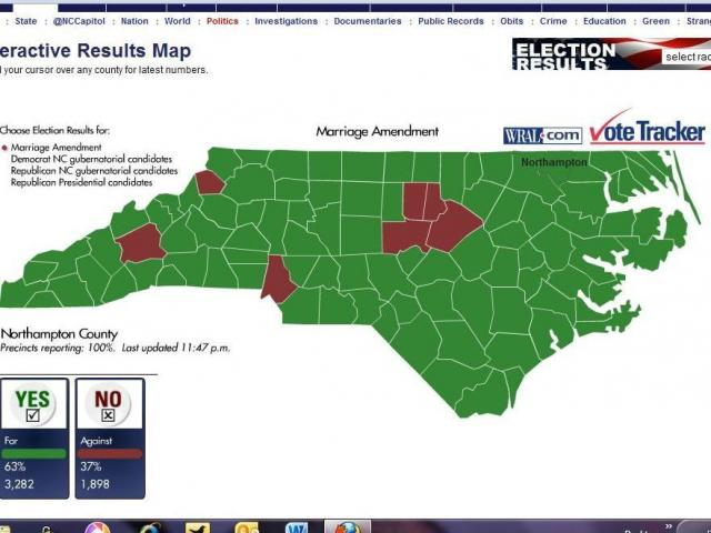 WRAL.com map showing how the Marriage Amendment vote breaks  down across the state.<br/>Reporter: Laura Leslie