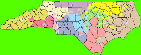 This is a map of U.S. Congressional Districts in North Carolina.