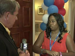 WRAL News anchor David Crabtree talks to Monica Gibbs, the first woman and the first black delegate elected from Pamlico County, on the eve of the Democratic National Convention in Charlotte.