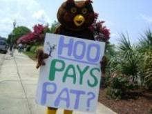 "Hootie is the mascot of Progress NC's ""Who Pays Pat?"" campaign."