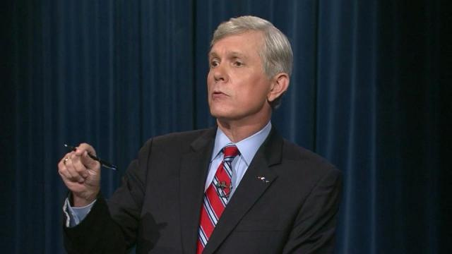 Walter Dalton makes a point during the North Carolina gubernatorial debate Oct. 3, 2012.