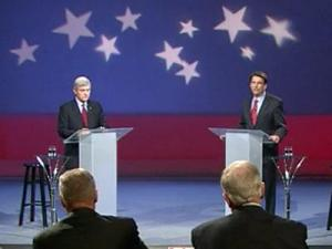 Democrat Walter Dalton, left, and Republican Pat McCrory discuss a range of issues during an Oct. 16, 2012, gubernatorial debate