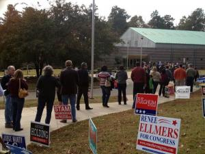 People lined up outside the Lake Lynn Community Center in north Raleigh on Nov. 2, 2012, to cast early ballots.