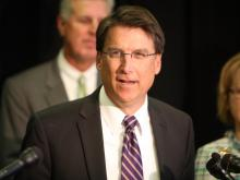 Gov.-elect Pat McCrory speaks to the media in Raleigh on Nov. 8, 2012.