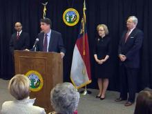 Gov.-elect Pat McCrory names Thomas Stith, left, as his chief of staff, Dr. Aldona Wos as DHHS secretary and John Skvarla as DENR secretary during a Dec. 13, 2012, news conference.