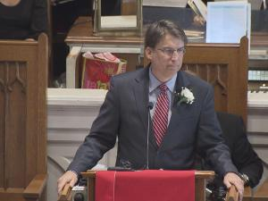 Gov. Pat McCrory addressed state employees Friday at an annual Martin Luther King Jr. celebration.