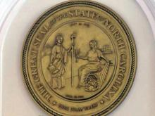 NC state seal in Senate chamber