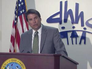 Gov. Pat McCrory announces plans to overhaul North Carolina's Medicaid system during an April 3, 2013, news conference.
