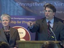 Gov. Pat McCrory with Commerce Secretary Sharon Decker