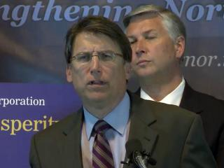 Gov. Pat McCrory and Commerce Secretary Sharon Decker held an April 8, 2013, news conference to announce plans to create a nonprofit to handle North Carolina's economic development efforts.