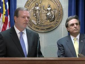 Senate President Pro Tem Phil Berger, left, and Senate Finance Committee Co-chairman Bob Rucho outline plans for state tax reform during a May 7, 2013, news conference.