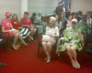 Women organized by Planned Parenthood of Central North Carolina dress in 60s clothes to make a point about a bill that they say takes health insurnace coverage back to the 60s for women's health care.