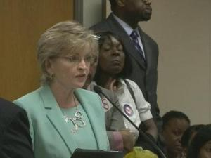 State Superintendent of Public Instruction June Atkinson speaks against H 944, which would create a voucher program.