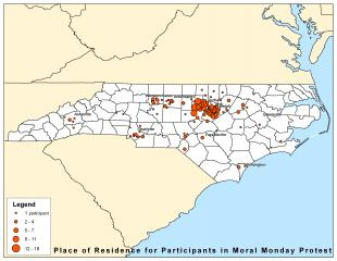 "A survey of ""Moral Monday"" participants on Monday, 6/17, found 311 of 316 participants were from North Carolina. This map shows the distribution throughout the state."