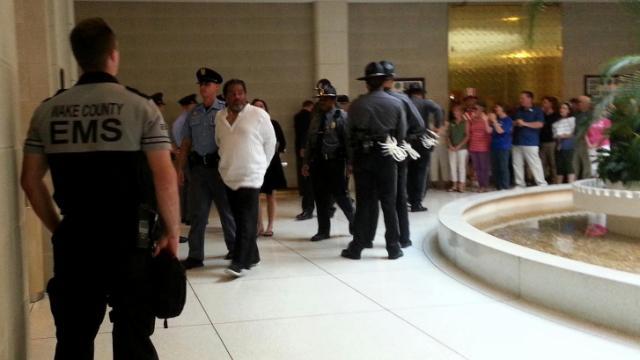 Arrests begin inside the North Carolina Legislative Building during the Moral Monday protest on July 8, 2013.