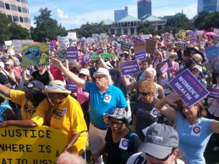 A large crowd gathered on the Halifax Mall outside the state legislative building on July 15, 2013, for the 11th Moral Monday protest.