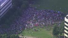 Sky 5 aerial footage of the July 15, 2013, Moral Monday protest on Halifax Mall in Raleigh.