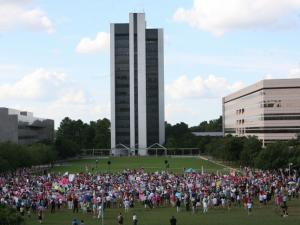 Moral Monday crowds at the beginning of the protest on July 15, 2013.