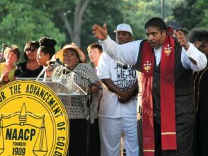 The Rev. William Barber at Moral Monday, July 29, 2013 (Photo by Matthew Lenard)