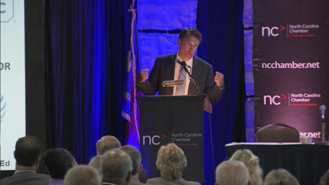 Gov. Pat McCrory discusses education initiatives at an Aug. 1, 2013, conference hosted by the N.C. Chamber.