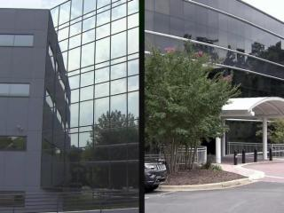 A former IBM building in Durham, left, was the low bidder for the NC FAST offices until the Department of Health and Human Services changed its office specifications, giving an edge to a building in Cary, right, that was the high bidder for the project.