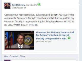 A screen capture of Gov. McCrory's Facebook post calling for constituents to help pressure lawmakers to sustain his veto.