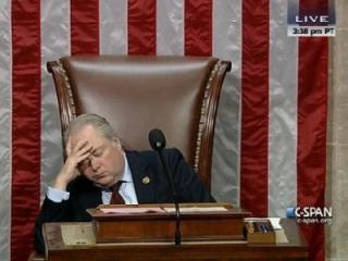 Rep. George Holding, R-NC13, falls alseep while presiding over the U.S. House.