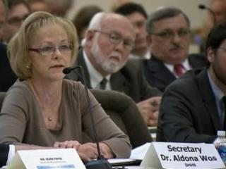 N.C. Health and Human Services Secretary Aldona Wos gives an opening statement to a General Assembly oversight committee on Oct. 8, 2013.
