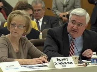 DHHS Secretary Aldona Wos and Chief Information Officer Joe Cooper testify before a General Assembly oversight committee on Oct. 8, 2013.