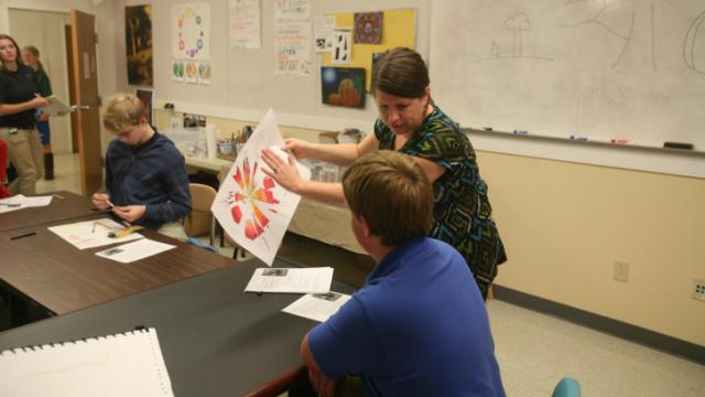An art class at Southern Wake Academy.