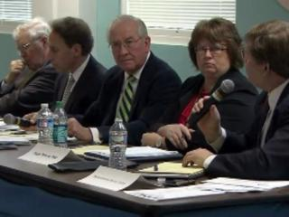 The Medicaid Reform Advisory Group includes, left to right, Sen. Louis Pate, Dr. Richard Gilbert, Dennis Barry, Peggy Terhune and Rep. Nelson Dollar.