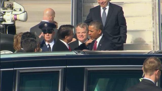 Gov. Pat McCrory greets President Barack Obama at Raleigh-Durham International Airport on Jan. 15, 2014.