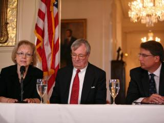 Aldona Wos, Secretary of Health and Human Services, John Skvarla, Secretary of Environmental and Natural Resources, and Gov. Pat McCrory attend a news conference at the Governor's Mansion on Jan. 21, 2014.