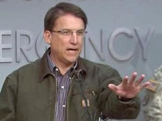 During a winter storm update, Gov. Pat McCrory shouts down a reporter's questions about the coal ash spill, Feb. 14, 2014.