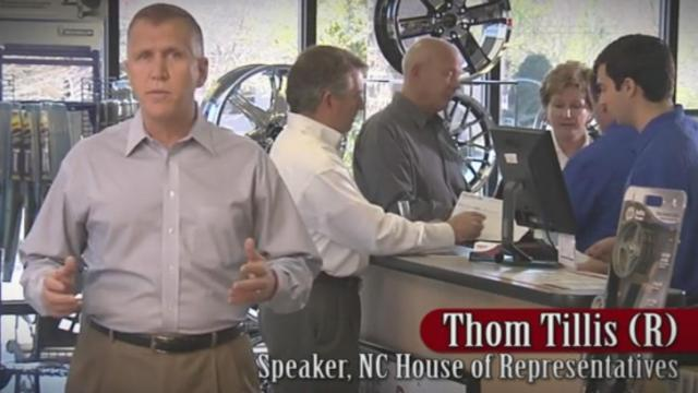 House Speaker Thom Tillis appears in an ad for N.C. House Legisaltive Partners