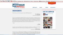 A screne shot of Rep. Larry Pittman's endorsement's page accessed 3/09/14.