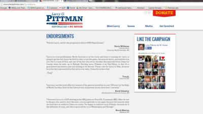 A screne grab of Rep. Larry Pittman's endorsements page, accessed 3/10/14.