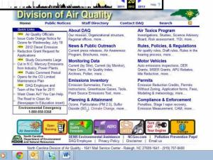"Screenshot of DAQ site, June 2013. The climate change link is under ""Planning & Attainment."""