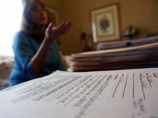 Becky Strickland, of Middlesex, N.C., discusses her requests for public information from the town on March 12, 2014.