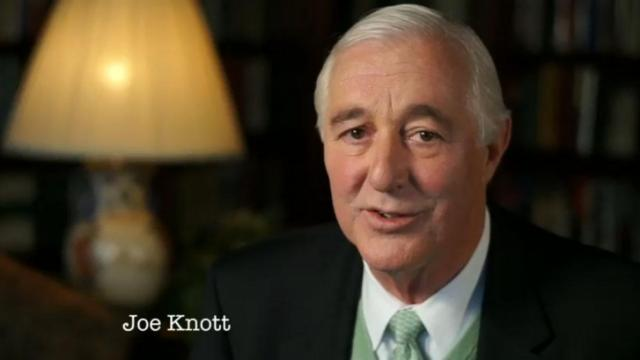 Joe Knott, a local lawyer, speaks in a television commercial for The American Foundations Committee.